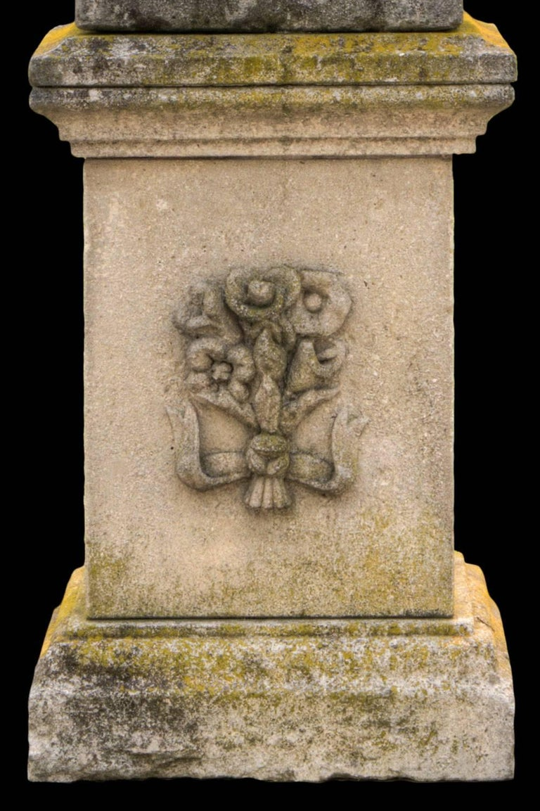 Splendid Italian Carved Large Stone Garden Sculpture Urania Symbol of Astronomy For Sale 1