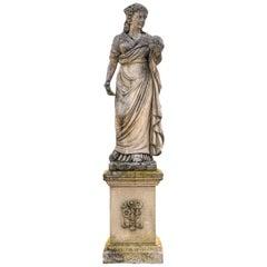 Splendid Italian Carved Large Stone Garden Sculpture Urania Symbol of Astronomy