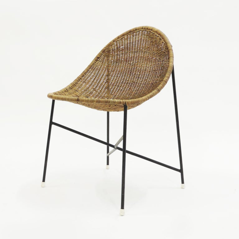 Mid-Century Modern Georges and Hermine Laurent Wicker and Metal Chair, 1950s For Sale
