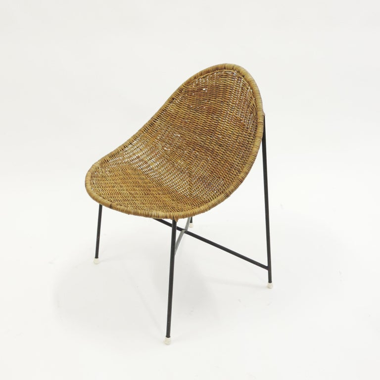 French Georges and Hermine Laurent Wicker and Metal Chair, 1950s For Sale