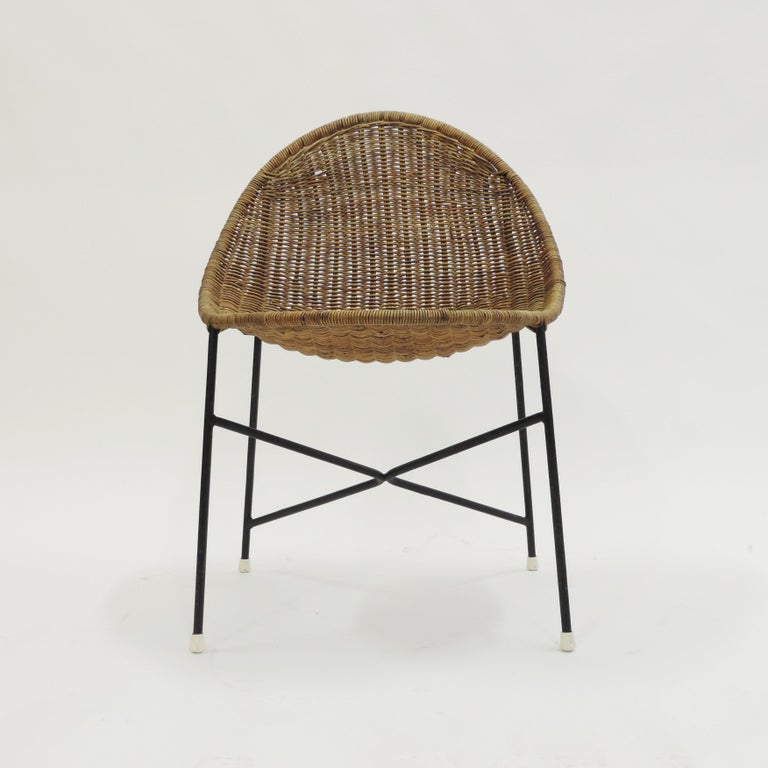 Georges and Hermine Laurent Wicker and Metal Chair, 1950s Reference: Rivista dell'Arredamento No. 10 p. 14