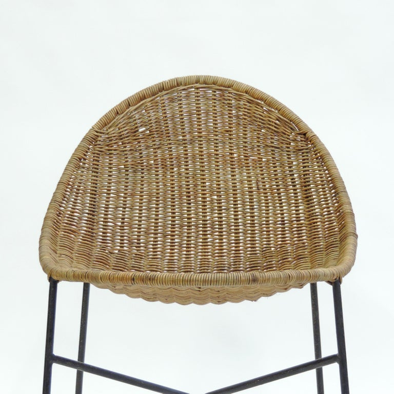 Mid-20th Century Georges and Hermine Laurent Wicker and Metal Chair, 1950s For Sale