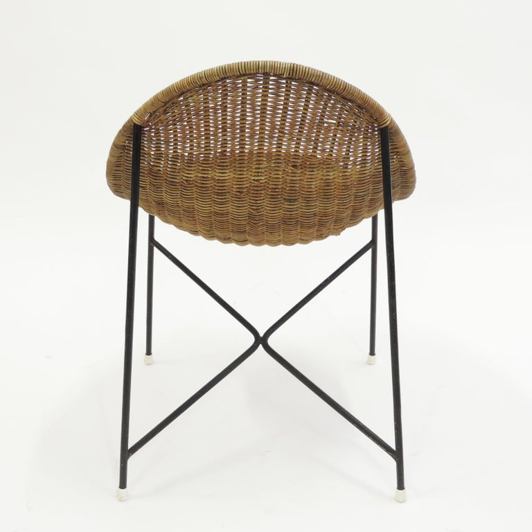 Georges and Hermine Laurent Wicker and Metal Chair, 1950s For Sale 1