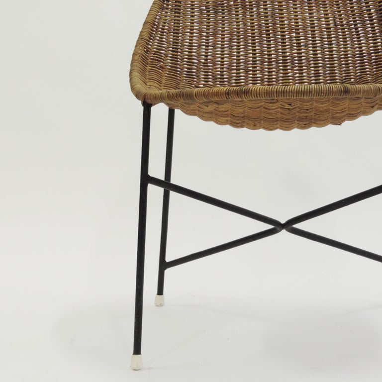 Georges and Hermine Laurent Wicker and Metal Chair, 1950s For Sale 2