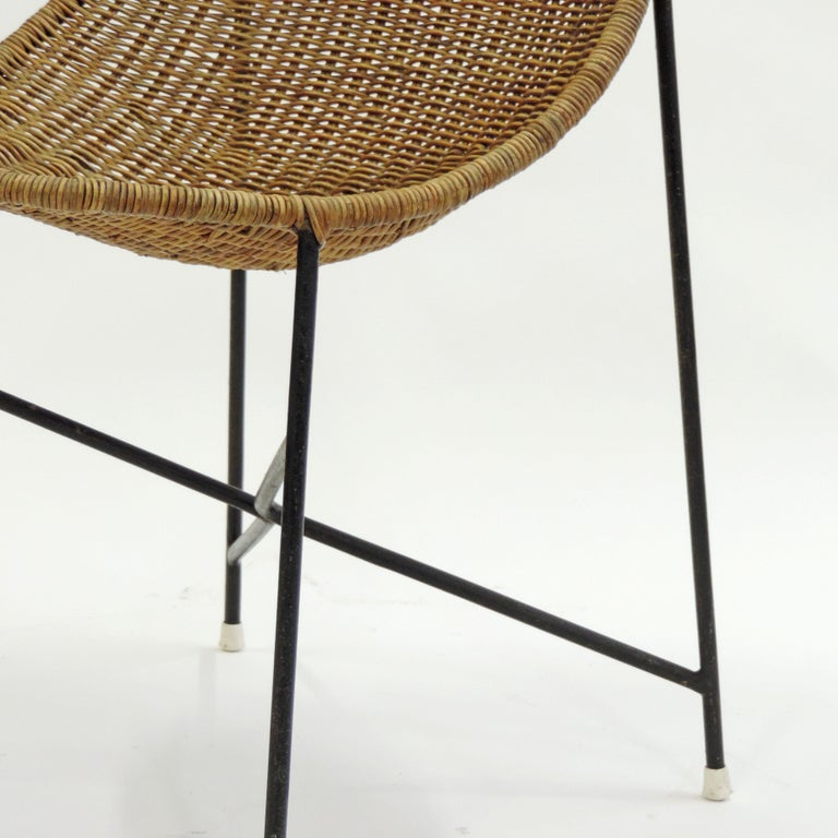 Georges and Hermine Laurent Wicker and Metal Chair, 1950s For Sale 3