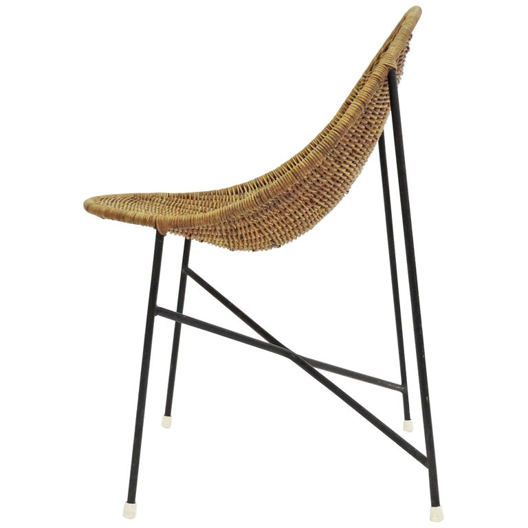 Georges and Hermine Laurent Wicker and Metal Chair, 1950s For Sale