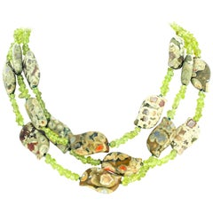 Splendid Jasper and Peridot Triple Strand Necklace