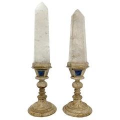 Splendid Pair of Rock Crystal Wunderkammer Specimen, Mounted over Wood and Lapis