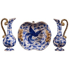 Splendid Set of 3 Belgian Ceramic Items with Hand Painted Blue Decorations
