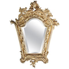 Splendid Wall Mirror Gold Gilded Rococo Napoleon III from 1890