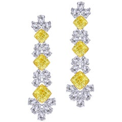 Splendid Yellow Cushion Diamond Drop Earring, 16.22 Carat