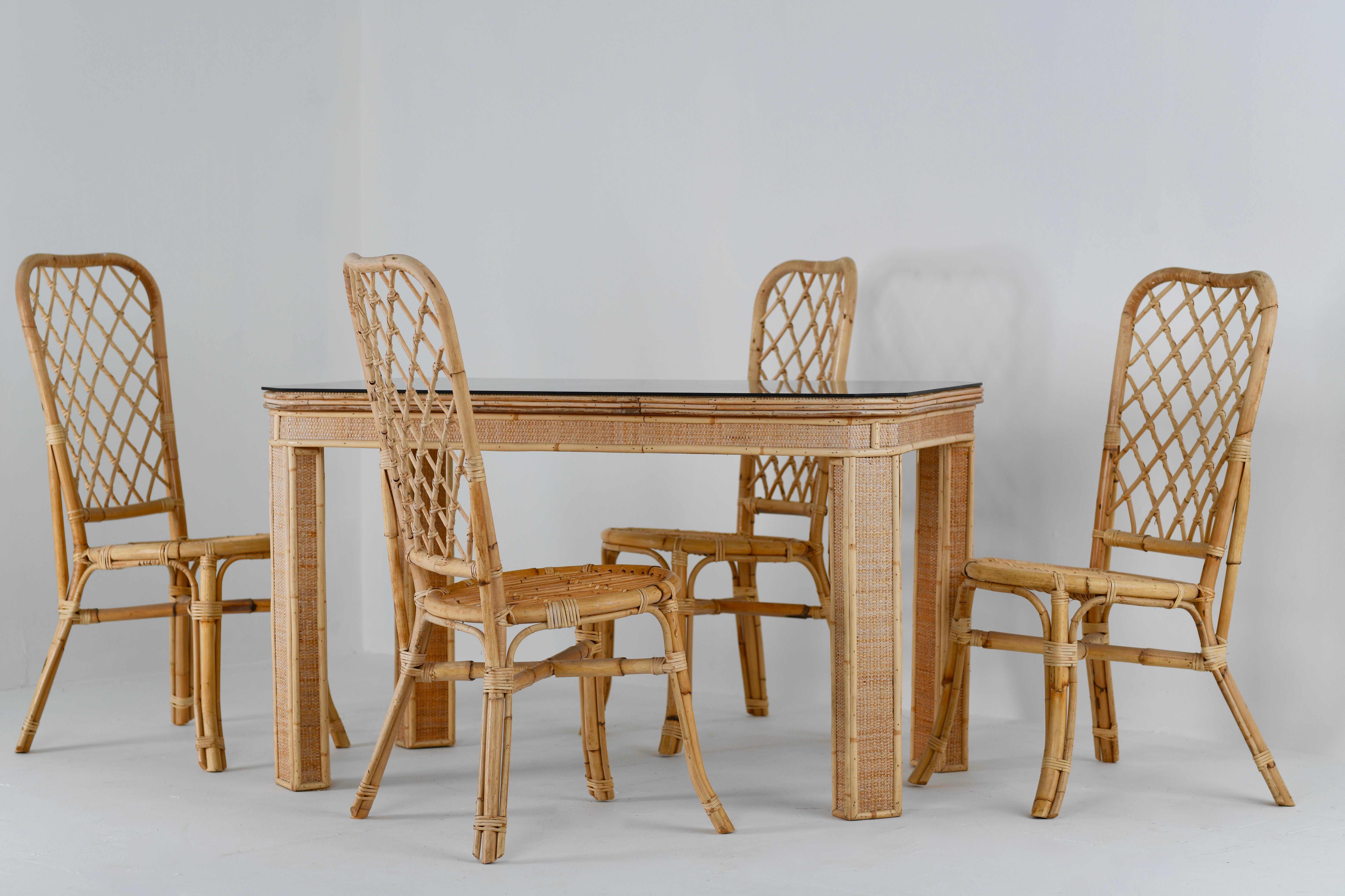 Split Cane Bamboo Table And Chair Set, Italian, 1960s