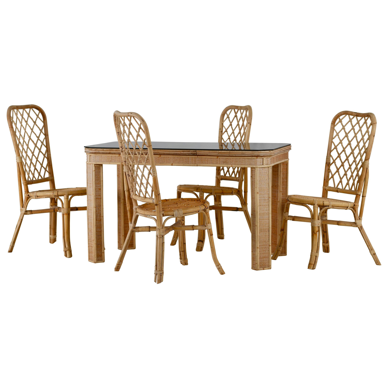 Brilliant Split Cane Bamboo Table And Chair Set Italian 1960S Creativecarmelina Interior Chair Design Creativecarmelinacom