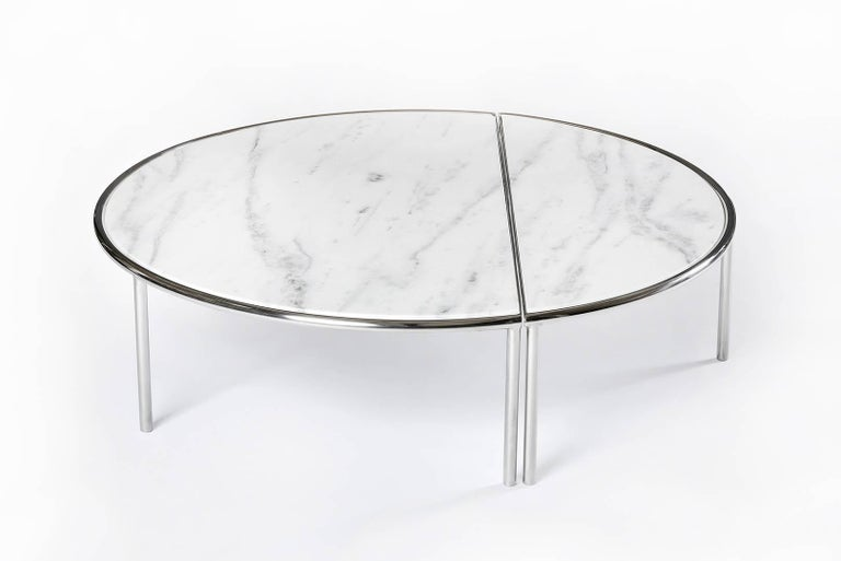 International Style Contemporary Split Center Table by RAIN in Stainless Steel and White Marble For Sale