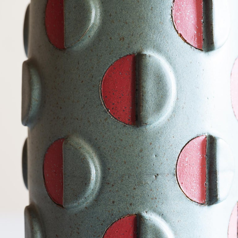 Modern Split Polka Dot Vessel with Relief by Matthew Ward, New Mexico 2019
