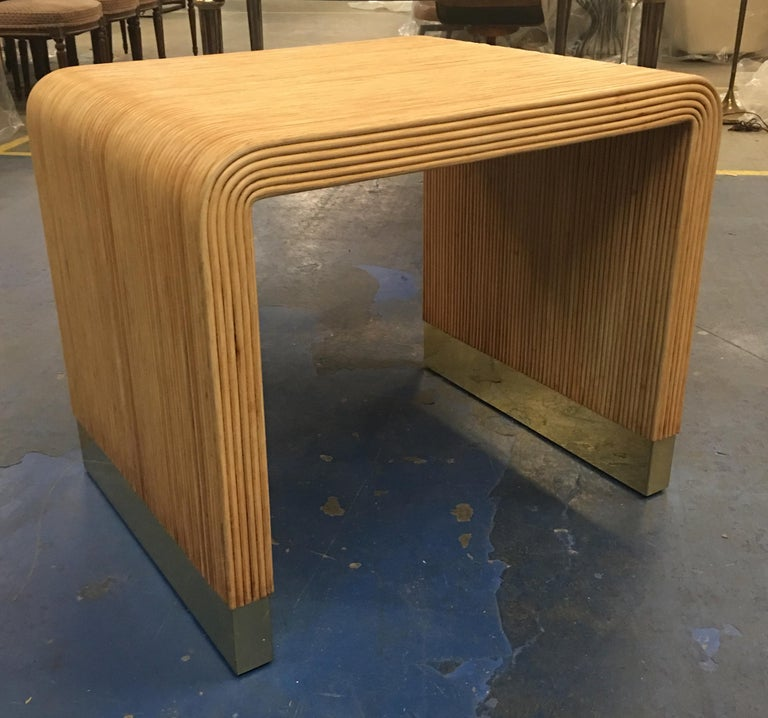 Large scale side table with brass-clad sled bases by Harrison- Van Horn, the Rolls Royce of furniture as they've been called. The beautiful workmanship shows throughout the piece. Base was professionally polished and lacquered.