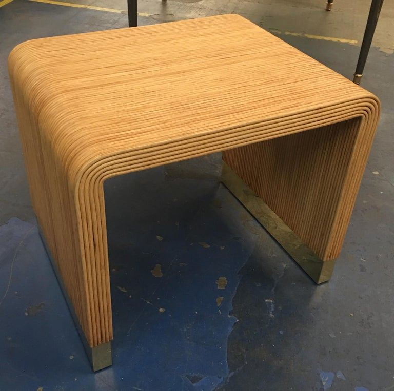 Modern Split Reed and Brass Side Table by Harrison-Van Horn For Sale