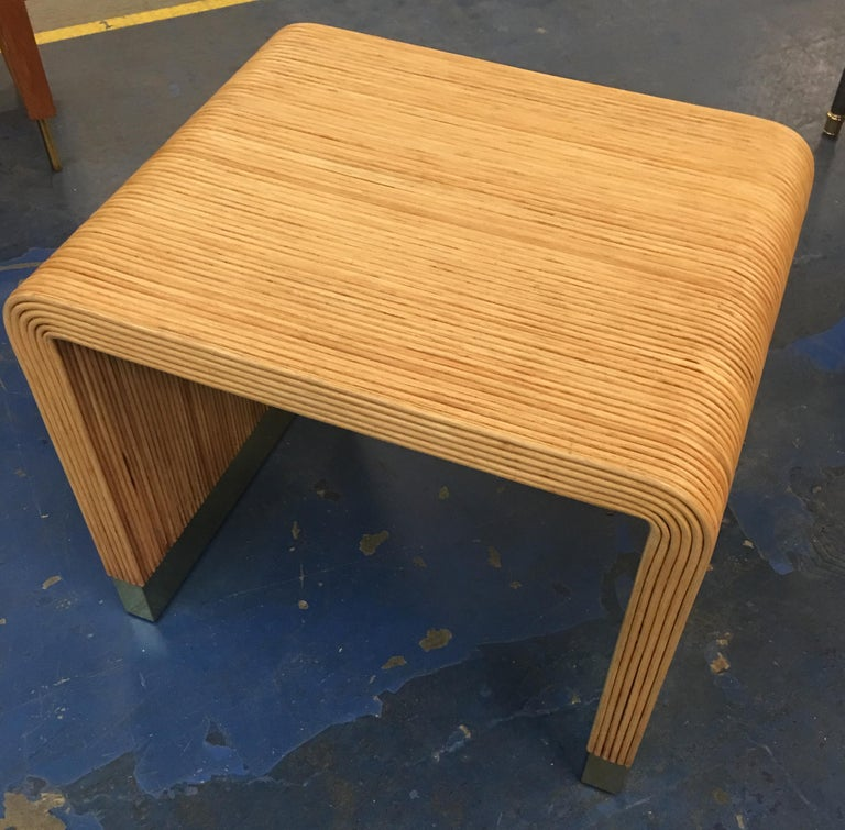 Split Reed and Brass Side Table by Harrison-Van Horn In Good Condition For Sale In San Leandro, CA
