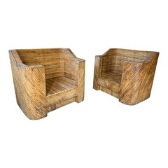 Split Reed Bamboo Club Chairs in the Manner of Gabriella Crespi