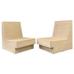 Split Reed Bamboo Lounge Chairs a Pair Midcentury