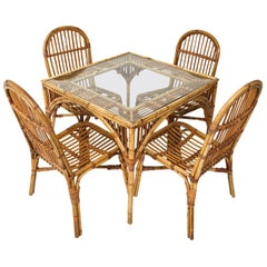 Split Reed Card Table with Four Chairs