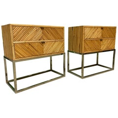 Split Reed Rattan and Brass End Tables or Nightstands