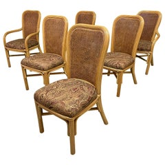 Split Reed Rattan Cane Back Dining Chairs, Set of 6