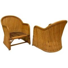 Split Reed Rattan Club Chairs
