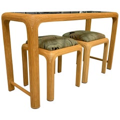 Split Reed Rattan Console Table with Matching Stools