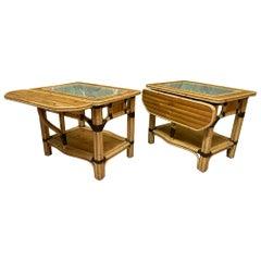 Split Reed Rattan Drop Leaf End Tables, a Pair