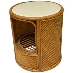 Split Reed Rattan Drum End Table