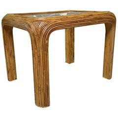 Split Reed Rattan End/Side Table