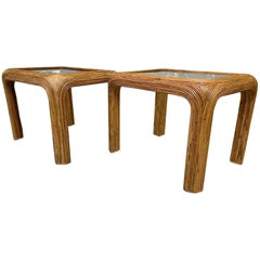 Split Reed Rattan End or Side Tables, a Pair