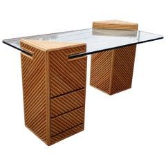 Split Reed Rattan Floating Column Desk