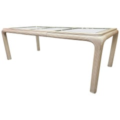 Split Reed Rattan Glass Top Dining Table