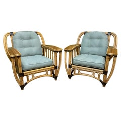 Split Reed Rattan Large Club Chairs, a Pair