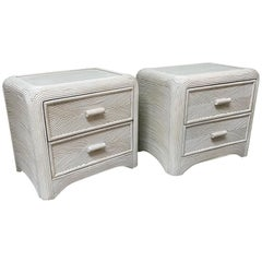 Split Reed Rattan Nightstands, a Pair