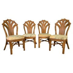 Split Reed Rattan Sculptural Dining Chairs, Set of 4