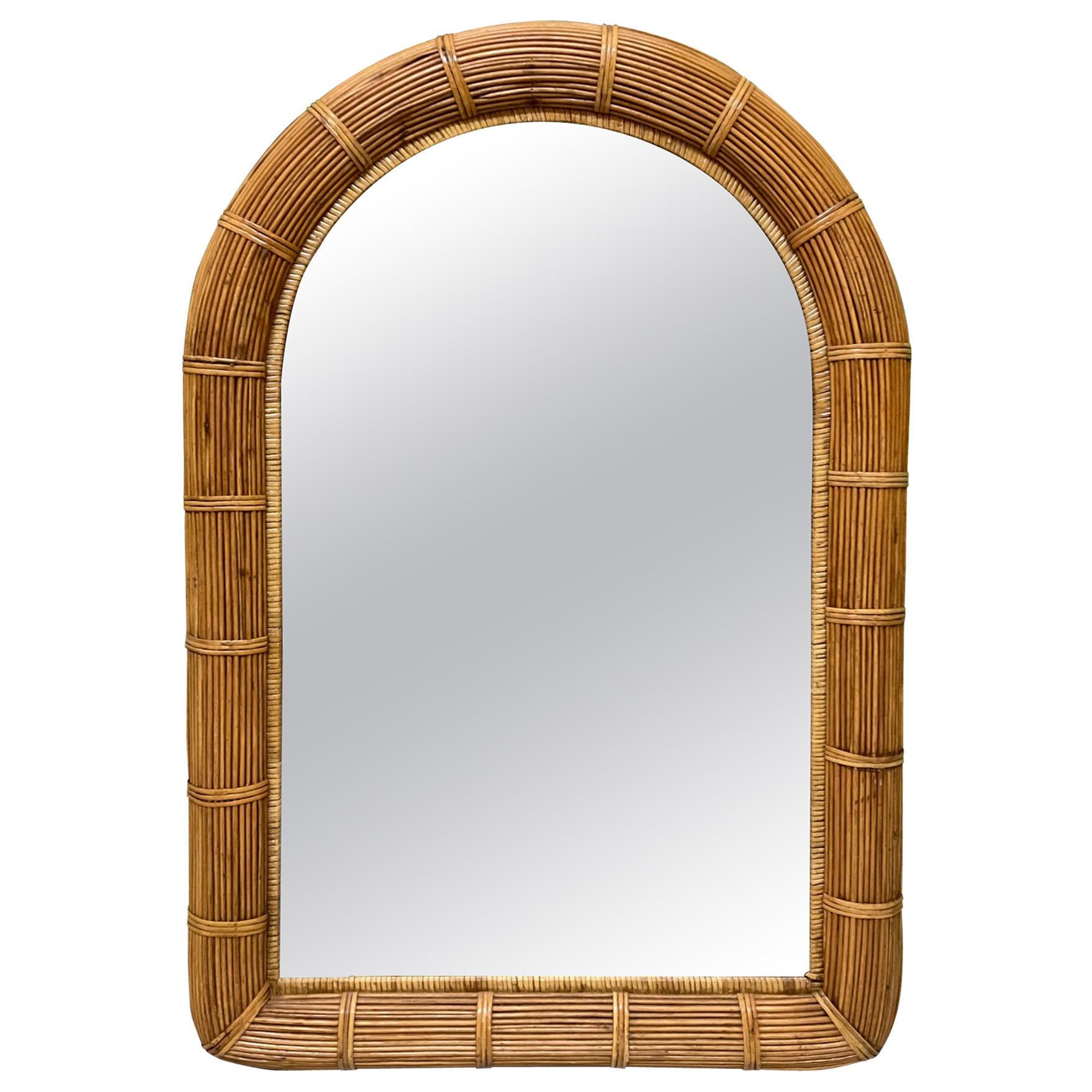 Split Reed Rattan Wall Mirror