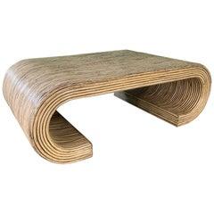 Split Reed Rattan Wrapped Scroll Coffee Table