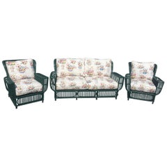 Split Reed Sofa 2 Chairs 1920s
