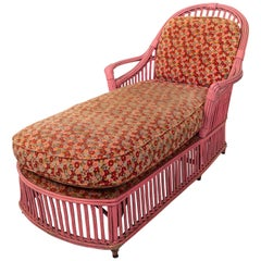 Split Reed Stick Wicker Chaise Lounge