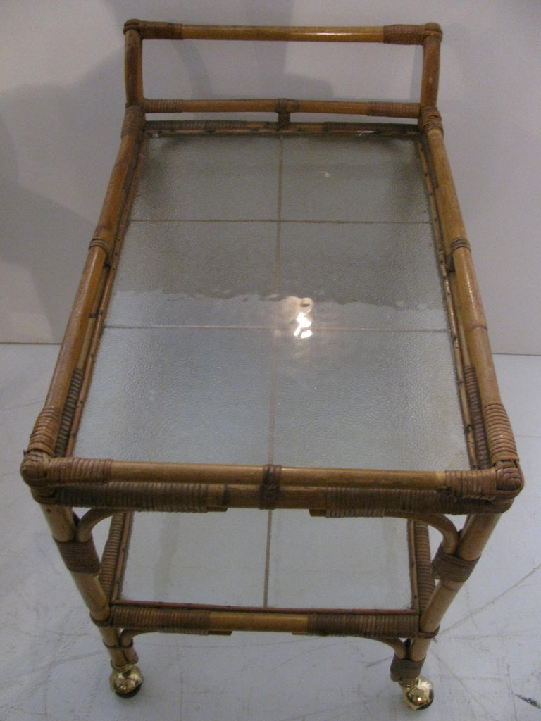 Mid-Century Modern Split Reed with Rattan Mid Century Bar Cart For Sale