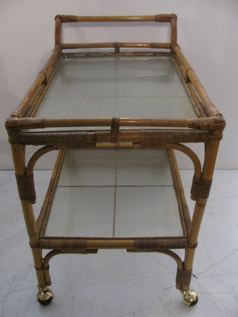 American Split Reed with Rattan Mid Century Bar Cart For Sale