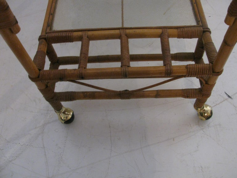 Mid-20th Century Split Reed with Rattan Mid Century Bar Cart For Sale