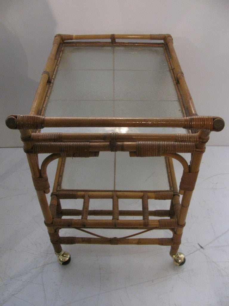 Brass Split Reed with Rattan Mid Century Bar Cart For Sale
