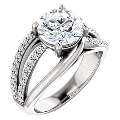 Split Shank Diamond Accented GIA Certified Round Brilliant Cut Engagement Ring
