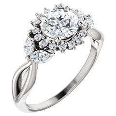 Split Shank Halo Diamond Accented Round Brilliant GIA Certified Engagement Ring
