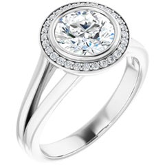 Split Shank Halo GIA Round Brilliant White Diamond Engagement Ring