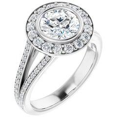Split Shank Halo Round Brilliant White Diamond Engagement Ring 1.85 Carats